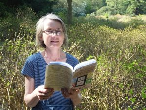 Margaret K Johnson with her book